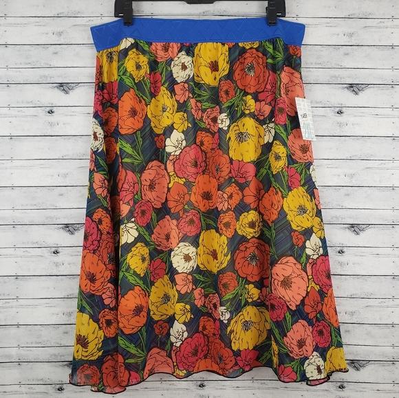 🆕️ LuLaRoe Poppy Flower Lola Skirt Sz 2XL